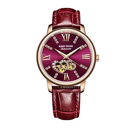 REEF TIGER Damen Uhr analog Automatik mit Leder Armband RGA1580-PRR