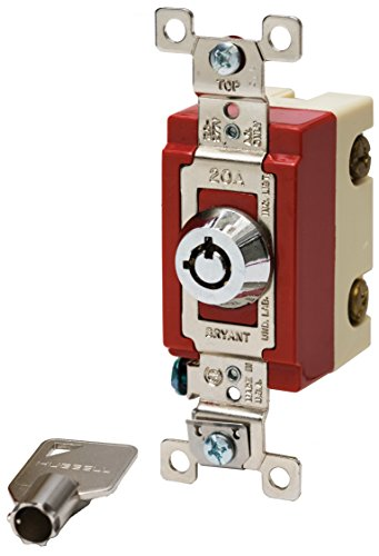Bryant Electric 4901RKL Locking Type Switch, Barrel-Key, Single Pole, Industrial Specification Grade, Back and Side Wired, 20 Amp, 120/277V, Stainless Steel