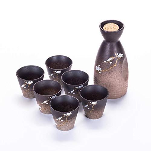 LemonDM Juego de Vino de cerámica Grueso con Flores de Cerezo pintadas a Mano, frascos de Cadera de cerámica, Taza de Sake, Frasco portátil (1pot and 6cup)