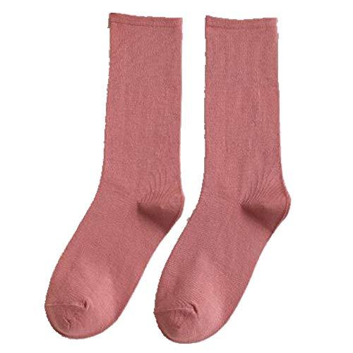 Otoño e Invierno De Las Mujeres Sólido Medio Tubo Calcetines Stack Calcetines Transpirables Cómodos Medias Cinco Piezas