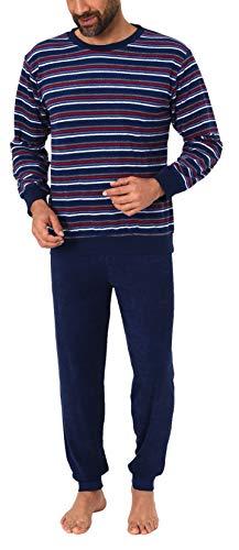 Herren Frottee Pyjama Langarm Schlafanzug mit Bündchen in Streifenoptik - 281 101 13 648, Farbe:Marine, Größe2:52