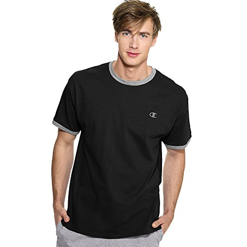Champion Cotton Jersey Men's Ringer T Shirt,Black/Oxford Gray,2XL