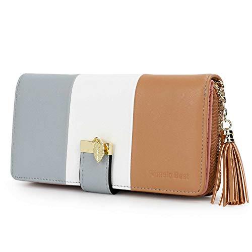 Pomelo Best Damen Geldbörse Mehrfarbig gestreift Portmonee (Typ 2 Khaki)