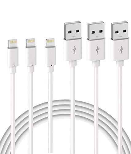 Quntis Lot de 3 Câble de Chargeur iPhone 2m【MFI Certifié Apple】 Fil Lightning Charge Rapide pour iPhone 11 Pro XS Max XR X 8 7 6s 6 Plus 5 Se iPad, Cordon Blanc