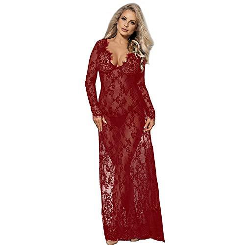 comeondear - Vestito Lungo da Donna, Sexy, in Pizzo, Trasparente, a Maniche Lunghe, Taglia Grande (Rosso,3XL)
