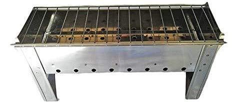 Mistermoby Fornacella Inox modello Ercolino per Arrosticini Spiedini Pane o Altro Ideale per Caminetto Casa Campeggio 40x13xH20 Centimetri