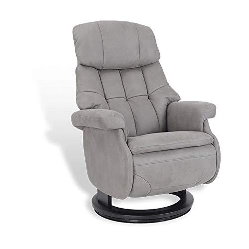 MND MY NEW DESIGN, Fauteuil de Relaxation Design, Cosy, très Confortable avec Pouf intégré (Gris, Microfibre)