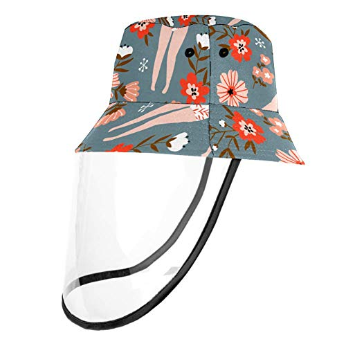 Kids Summer Play Hat UPF 50+ Bucket Travel Hat Removable Sun Cap for Boys and Girls - Floral Girl Flower Retro