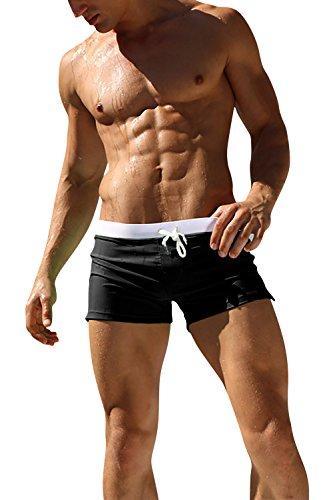 Dolamen Uomo Costume da Bagno Boxershorts, 2018 Mare Piscina Sport Slip Tronchi di Nuoto Pantaloncini Calzoncini Mutande, con Il Drawstring Regolabile Dentro Cerniera Tasche (Medium, Nero)