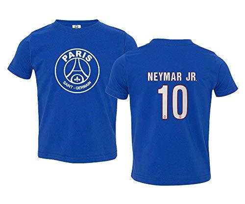 Spark Apparel Paris Soccer Shirt #10 Neymar Jr. Little Kids Girls Boys Toddler T-Shirt (Royal, 5T)