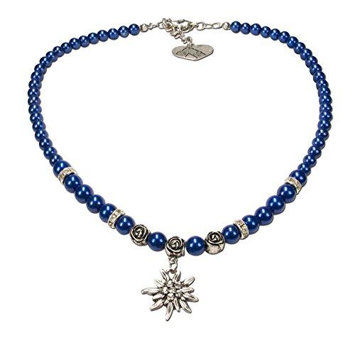 Alpenflüstern Perlen-Trachtenkette Fiona mit Strass-Edelweiß klein - Damen-Trachtenschmuck Dirndlkette blau DHK122