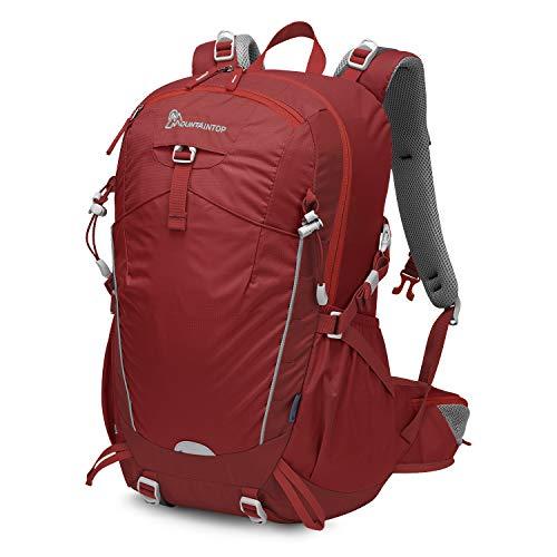 MOUNTAINTOP 28/35 Liter Rucksäcke Damen Herren Backpack Wanderrucksack Trekkingrucksack Outdoorrucksack Daypacks (35L-Rot, 35L)