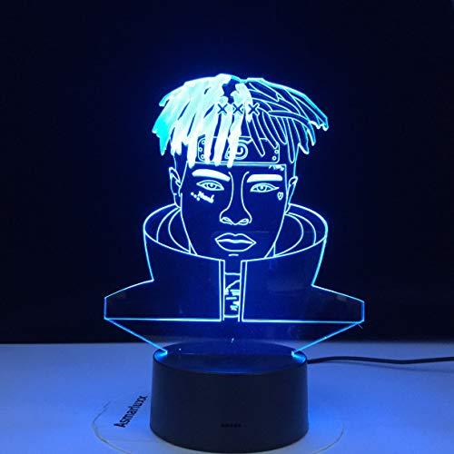 Rapper XXX Tentacion Figur Jahseh Dwayne Ricardo Onfroy Souvenir Fans Nachtlicht 3D LED USB Tischlampe Kinder Geburtstagsgeschenk Nachtzimmer Dekoration