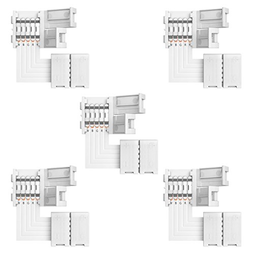 RGBW Connector Supernight 90 Degree LED Strip Connectors 5 Pin L Shape for 10mm Wide SMD 5050 2835 RGBW/RGBWW LED Strip Lights PCB LED Corner Connector Kit, 5pcs