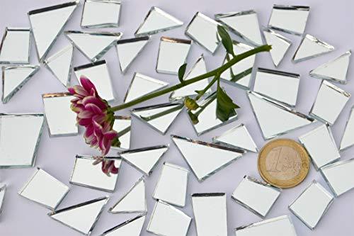 105g (4,75 €/100 g) Spiegel- Mosaiksteine Formen-Mix 15-35mm silber, Spiegelmosaik, ca. 48 St. Spiegelsteine
