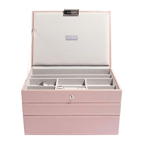 Stackers Soft Pink Classic Medium Jewellery Box, Set of 3