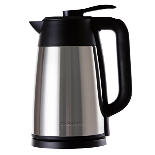 Chefman Cordless Electric Kettle, Stainless Steel Premium Grade Carafe Style w/ Digital Temp Display, Heat Retaining Vacuum Seal, Auto Shut Off & Boil Dry Protection, 7+ Cup 1.7L/1.8qt. - RJ11-17-DV