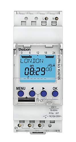 Theben 1700087 - SELEKTA 170 top3 e - Interruptor astonómico - Digital - Carril DIN - 2 módulos - Programación Mediante aplicación (App) - Carril DIN