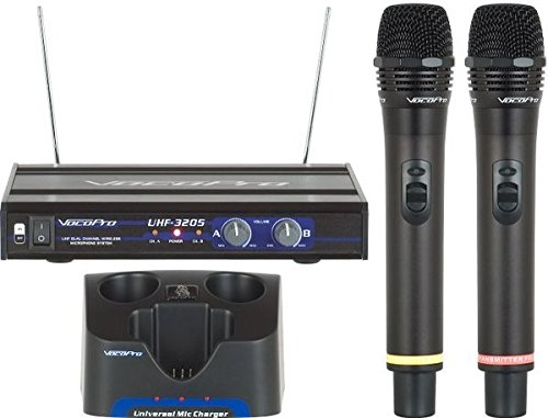 VocoPro UHF-3205 UHF-Dual Channel Rechargeable Wireless Microphone System