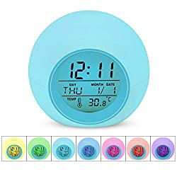 DAYOO Kids Alarm Clock, Digital Alarm Clock for Kids, 7 Color Changing Night Light Clock for Girls Boys Bedroom, Children's Clock with Touch Control, Indoor Temperature and Snooze