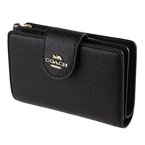 COACH Medium Leather Corner Zip Wallet in Black - Gold, Style No. 6390
