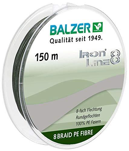 Balzer Iron Line 8-150m geflochtene Schnur zum Spinnfischen, Farbe:Grün, Durchmesser/Tragkraft:0.10mm / 8.1kg
