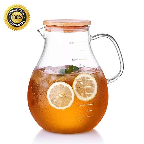 BAOWEN grote glazen pot met deksel en handvat 2,8 liter, warm/koud water kruik met capaciteit schaal, sap en ijsthee drank Pitcher, borstel en onderzetter inbegrepen