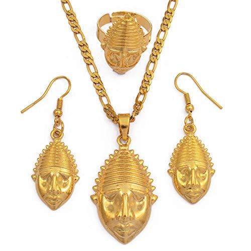 Png Mask Anhänger / Halskette / Ring / Damen Papua-Neuguinea Gold Farbzubehör Ethnisches Design Geschenk # 098206