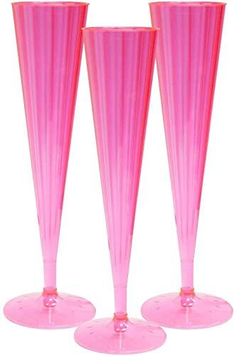 Party Essentials 20Count Hard Plastic Twopiece 5 oz Champagne Flutes, Neon Pink