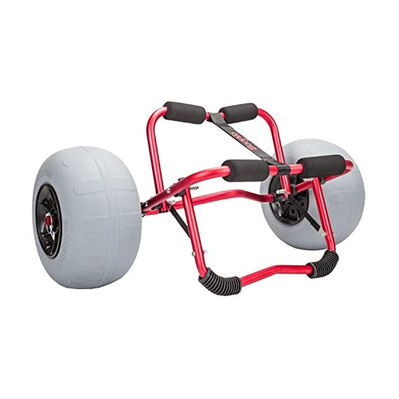 """Bonnlo Kayak Canoe Boat Cart Carrier Dolly Trolley with 12"""" Big Beach Balloon Tires Wheels - Free Pump and Strap - Perfect for Soft Sand 1 12"""" BIG BEACH BALLOON TIRES: Detachable large low pressure balloon tires. - Built for the Outdoors - Built for the Sand CAPACITY: Generous 165lb carrying capacity allows you to easily transport your kayak / canoe;solid aluminium frame,and foam bumpers on each arm to protect your canoe / kayak hull. EASY ASSEMBLY AND DISASSEMBLY: Trolley is easy to assemble with no tools required;dolly breaks down for easy and convenient storage or transport."""