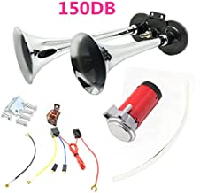 Viping Car Horn Air Horn 12v 150DB Chrome Zinc Dual Trumpet Air Horn with Compressor Loud Speaker Silver Truck Horn for Any 12V Vehicles Trucks Lorrys Trains Boats Cars ect