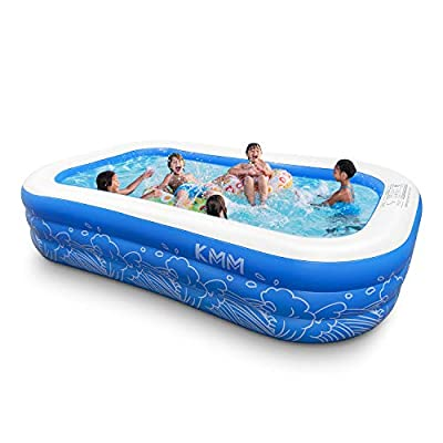 """Inflatable Swimming Pool, KMM Family Full-Sized Kiddie Pools, 103"""" x 69"""" x 22"""" Large Blow Up Above Ground Backyard Pool for Kids, Adult, Toddlers, Outdoor, Garden, Summer Water Party, Includes Patches"""