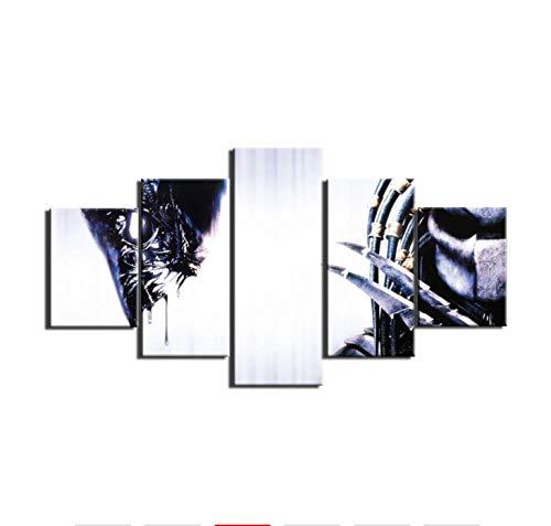 Póster Cuadros En Lienzo 5 Piezascuadros De Lienzo De Arte De Pared Impresos En Hd 5 Piezas Alien Vs Predator Pintura Cartel Decoración Del Hogar Para Sala De Estar4X6Inx2,4X8Inx2,4X10Inx1