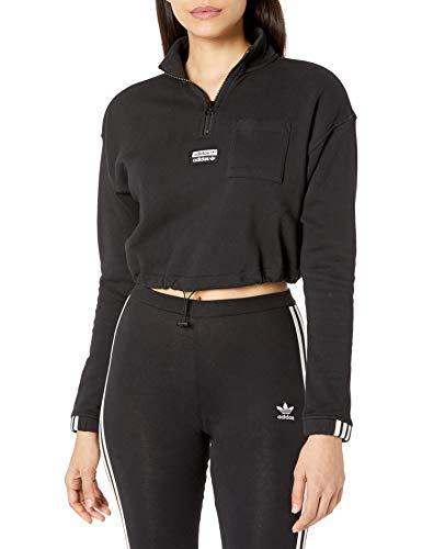adidas Originals Women's Half-Zip Sweatshirt, black, Medium