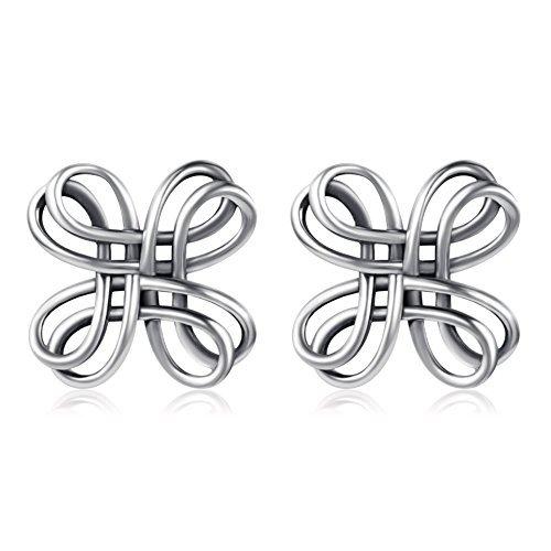 Celtic Knot Stud Earrings Sterling Silver Oxidation Celtic Jewelry for Women Girls
