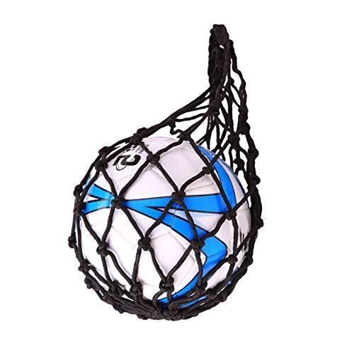 YCYUYK Bolsa de malla de nylon para llevar a la red de fútbol portátil baloncesto rugby bolsa de voleibol negro