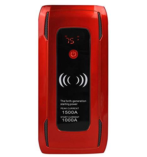 Auto Starthilfe, 24000mAh 1500A Spitzenstrom Starthilfe Powerbank bis zu 7,5L Benzin oder 6L Dieselmotor Mit Kabellosem Ladegerät,001