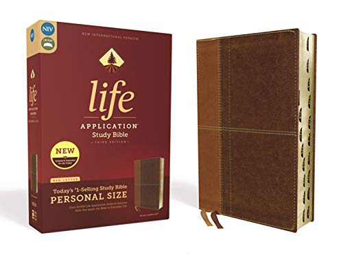 Compare Textbook Prices for NIV, Life Application Study Bible, Third Edition, Personal Size, Leathersoft, Brown, Red Letter Edition, Thumb Indexed Indexed, Large Print, Thumbed Edition ISBN 9780310453031 by Zondervan