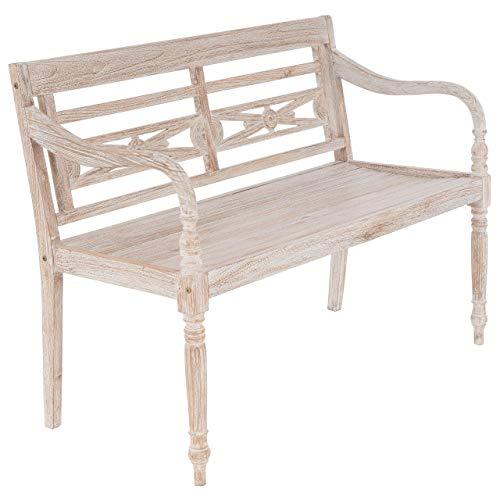 Nexos Divero Gartenbank Sitzbank Parkbank 2-Sitzer aus Teak-Holz White Washed Shabby Chic massiv Handarbeit mit Schnitzereien für Terrasse Garten Balkon 120 cm (White Wash)