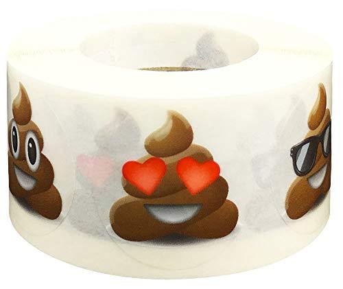 Poop Emoji Stickers 1 Inch 500 Total Adhesive Stickers