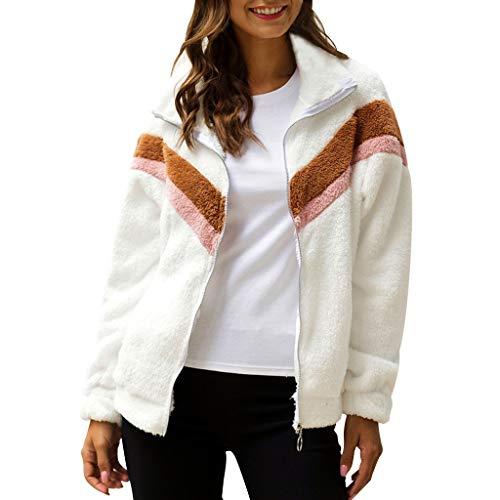 BDToy Damen Hoodie Kapuzenpullover Frauen Reißverschluss Farbblock Gestreift Fuzzy Fleece Pullover Sherpa Sweatshirt Mantel(Weiß,XL)