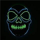 Queta LED Halloween Masken Draht Glühende Maske Light Horror Maske EL Wire Purge Maske mit 3 Blitzmodi für Halloween Parade, Party, Halloween Kostüm DJ für Erwachsene und Kinder