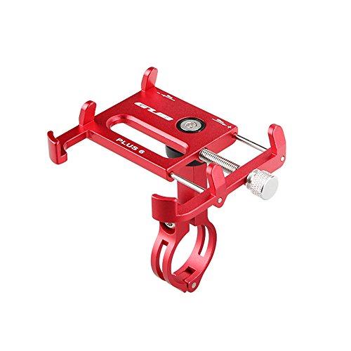 Lixada Bicicleta Teléfono Titular 360 Grado Giratorio Longitud Ajustable de Aluminio Manillar de Bicicleta de Montaje (Rojo)
