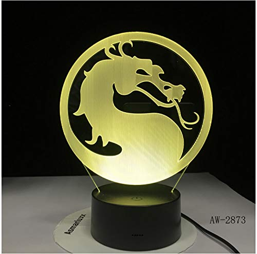 Sensor táctil USB de cabeza de dragón 3D ilusión RGBW para niños, regalo de noche furia nocturna LED decoración de escritorio, lámpara de mesa sin controlador, 7 colores