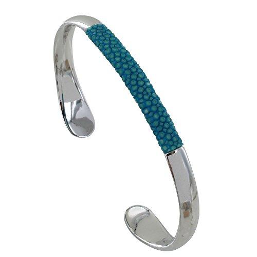 Schmuck Les Poulettes - Messing Rhodium Uberzogen Gemischt Armband Hälfte Rochenleder und Stachelrochen Colors - Turquoise