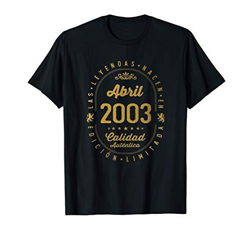18 años Cumpleaños - Las Leyendas nacen en Abril de 2003 Camiseta