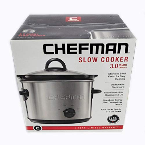 Chefman RJ15-3-SS-R Slow Cooker, 3 quart, Stainless Steel by Chefman