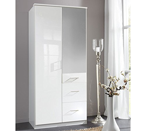 lifestyle4living Kleiderschrank mit Spiegel-Tür, Hochglanz Weiß, 90 cm | Drehtürenschrank mit 2 Türen, 3 Schubladen, 1 Kleiderstange, 3 Einlegeböden im modernen Stil