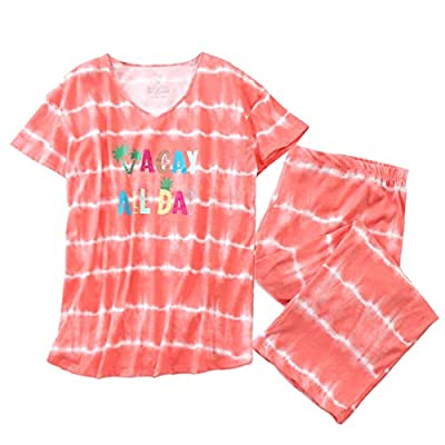 ENJOYNIGHT Women's Sleepwear Tops with Capri Pants Pajama Sets (Large, All Day) from
