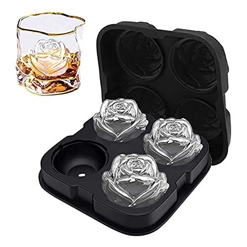 Yuui Bandeja para cubitos de hielo con 4 celdas, forma de rosa, grande, para hacer bolas de hielo DIY Craft Mold para bebidas de whisky Easy Release